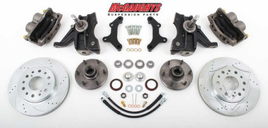 """1973-1987 Chevrolet C-10 Front 13"""" Cross Drilled Disc Brake Kit W/Drop Spindles; 6x5.5 Bolt Pattern - McGaughys 33301"""