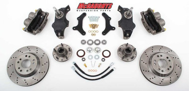 "McGaughys Chevrolet Fullsize Car 1958-1964 13"" Front Cross Drilled Disc Brake Kit & 2"" Drop Spindles; 5x4.75 Bolt Pattern - Part# 63258"