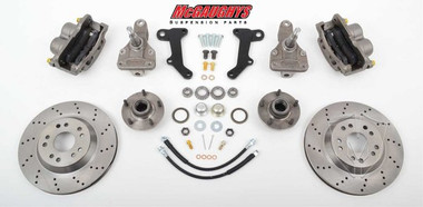 "McGaughys Chevrolet Malibu 1964-1972 13"" Front Cross Drilled Disc Brake Kit & 2"" Drop Spindles; 5x4.75 Bolt Pattern - Part# 63236"