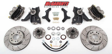 "1971-1972 GMC C-10 13"" Front Cross Drilled Disc Brake Kit & 2.5"" Drop Spindles; 5x5 Bolt Pattern - McGaughys 63155"