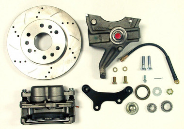 "1971-1972 GMC C-10 13"" Front Cross Drilled Disc Brake Kit & 2.5"" Drop Spindles; 6x5.5 Bolt Pattern - McGaughys 63313"