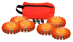 LED Safety Flare. 6 Pack with with Replaceable CR123 Lithium Battery and Travel Bag. Red