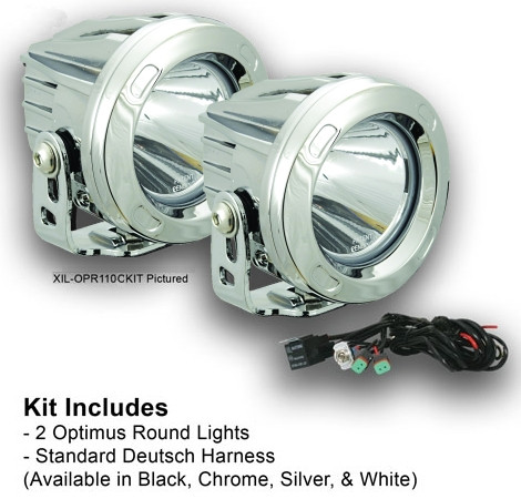 Wondrous 10 Degree Chrome Round Optimus Led Light Kit Two Lights And Install Wiring 101 Akebwellnesstrialsorg