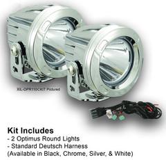 60 DEGREE CHROME ROUND OPTIMUS LED LIGHT KIT TWO LIGHTS AND INSTALL KIT - Vision X XIL-OPR160CKIT 9150079