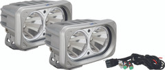 OPTIMUS SQUARE SILVER 2 10W LEDS 60° FLOOD KIT OF 2 LIGHTS. Vision X XIL-OP260SKIT
