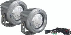 OPTIMUS ROUND SILVER 1 10W LED 60° FLOOD KIT OF 2 LIGHTS. Vision X XIL-OPR160SKIT