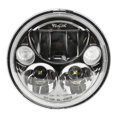 "SINGLE 5.75"" ROUND BLACK CHROME VORTEX LED HEADLIGHT W/ LOW-HIGH-HALO - Vision X XMC-575RDB 9895659"