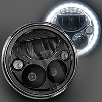 "E-Mark BLACK CHROME 7"" ROUND LED HEADLIGHTS (PR). VISION X XIL-7RELBKIT"
