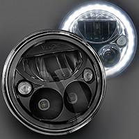 """E-Mark BLACK CHROME 7"""" ROUND LED HEADLIGHT. VISION X XIL-7RELB"""