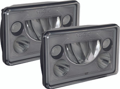 "PAIR OF 4X6"" RECTANGLE VORTEX BLACK CHROME FACE LED HEADLIGHTS W/ LOW-HIGH-HALO Vision X XIL-46DBKIT 9897837"
