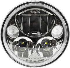 "SINGLE BLACK CHROME FACE 5.75"" ROUND VORTEX LED HEADLIGHT W/ LOW-HIGH-HALO Vision X XIL-575RDB 9895635"