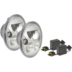 "PAIR OF 7"" ROUND VORTEX LED HEADLIGHT W/ LOW-HIGH-HALO CHROME BACK WITH H4 TO H13 ADAPTERS Vision X XIL-7RDKITCB 9907604"