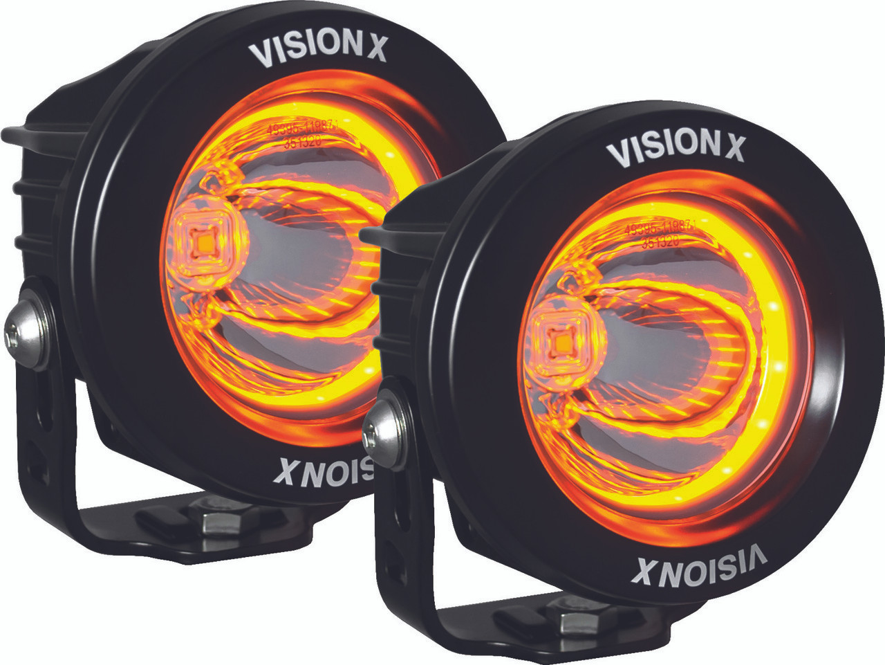Kit Of Two 37 Optimus Round Amber Halo Series Prime Black 10 Watt Wiring Lights Led Light 15 Degree Beam Emark Certified With Dual Wire Harness Vision X