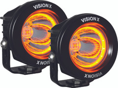 """KIT OF TWO 3.7"""" OPTIMUS  ROUND AMBER HALO SERIES PRIME BLACK 10-WATT LED LIGHT 15 DEGREE BEAM - EMARK CERTIFIED WITH DUAL WIRE HARNESS Vision X XIL-OPRHA115KIT 9917610"""