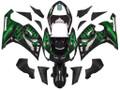 Fairings Kawasaki ZX6R 636 Black & Green Flame Ninja Racing  (2005-2006)
