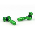 Tire Valves Angled CNC Anodize Aluminum Wheel Air Stem 2/Pack, Green