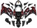 Fairings Kawasaki ZX6R 636 Black & Red Flame Ninja Racing  (2005-2006)