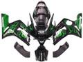 Fairings Kawasaki ZX6R 636 Black & Green Flame Ninja Racing  (2003-2004)