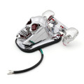 Skull Tail Light Rear Indicators Turn Signals License Tag Bracket Set Harley Davidson, Chrome, Blue LED Indicators