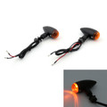 Bullet Turn Signal Lights Indicators Cruiser Chopper Harley Softail Dyna Sportster V-Rod, 10mm Universal Mount, Black  Amber