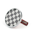 Front Grill Badge Holder Black Checkered Pattem MINI Cooper R50 R55 R56