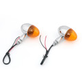 Universal Motorcycle Bike Amber Turn Signal Indicator Blinker Light Chrome+Yellow