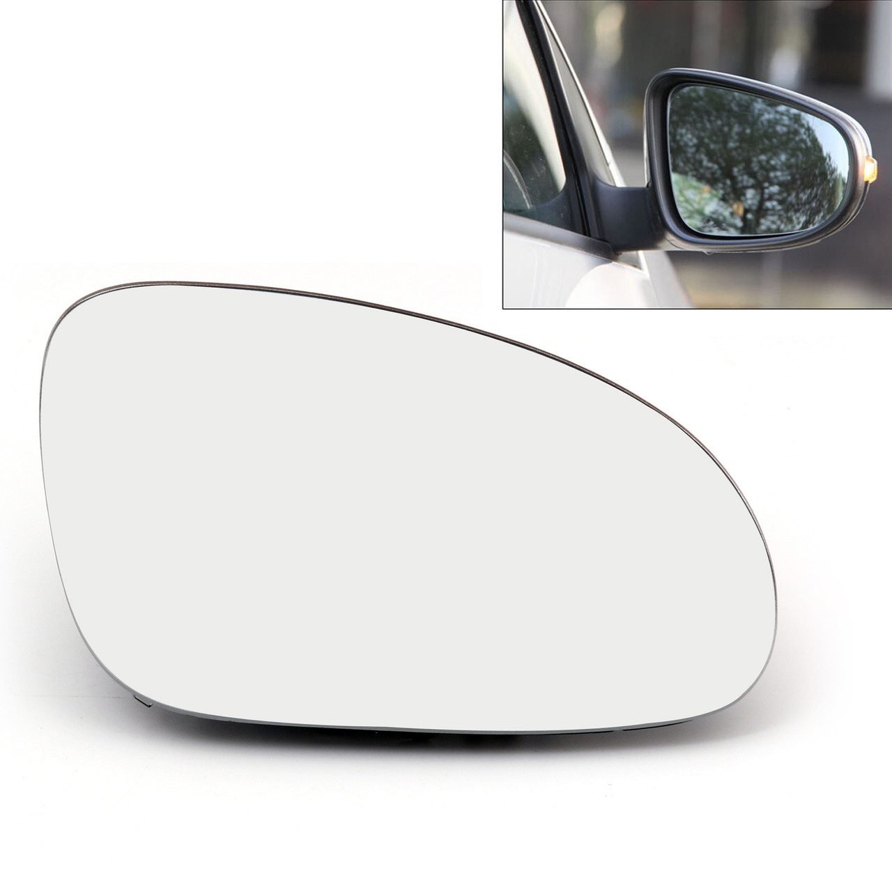 Heated Volkswagen Caddy Mk.3 04-10 Right Hand O//S Black Wing Mirror Electric