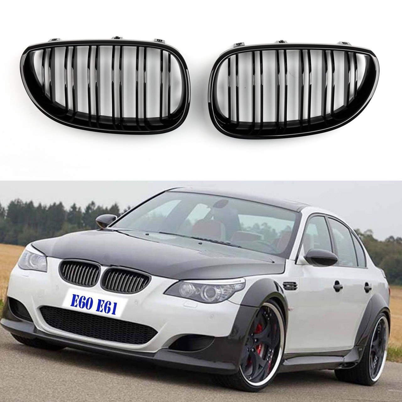 Kidney Grille Double Rib BMW E60 E61 5 Series M5 (03-10) Gloss Black