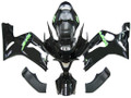 Fairings Kawasaki ZX6R 636 Black Green ZX6R Racing  (2003-2004)
