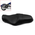 Leather Driver Passenger 1 Piece Seat Saddle Two up Harley XL883N XL1200 (04-15) Black