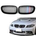Kidney Grille M Color BMW E90 E91 LCI 3 Series Sedan Wagon 4 Door (08-12) Gloss Black
