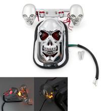 Skull Tail Light Rear Indicators Turn Signals License Tag Bracket Set Harley Davidson, Chrome, Amber LED Indicators