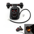 Skull Tail Light Rear Indicators Turn Signals License Tag Bracket Set Harley Davidson, Black, Amber LED Indicators