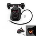 Skull Tail Light Rear Indicators Turn Signals License Tag Bracket Set Harley Davidson, Black, Amber LED Indicators
