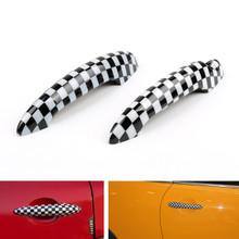 Checkered Pattern Design Door Handle Cover Mini Cooper R50 R52 R53 R55 R56