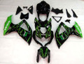 Fairings Suzuki GSXR 600 750 Black & Green Flame GSXR Racing  (2008-2009-2010)