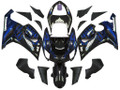 Fairings Kawasaki ZX6R 636 Black & Blue Flame Ninja Racing  (2005-2006)