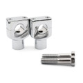 "7/8"" 22mm Motorcycle CNC Universal Alumium Handlebar Riser Clamp Taper, Chrome"
