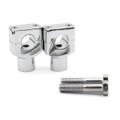 "7/8"" 22mm Motorcycle CNC Universal Alumium Handlebar Riser Clamp Taper, Chrome"