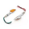 Skeleton Hand Arm LED Indicators Turn Signals Universal Fit Custom Chopper, Chrome Amber Lens