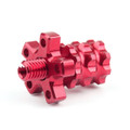Universal 8mm Anodized Billet Aluminum Clutch Cable Adjuster Set, Red