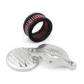 Air Cleaner Finned Intake Filter System Kit Harley Sportster XL883 XL1200 (88-15) Silver