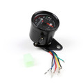 Universal Motorcycle Dual Odometer KMH Speedometer Gauge LED Backlight Signal, Black