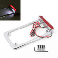 "3"" LED License Plate Frame With LED Tail Brake Light Universal Motorcycle Chrome"