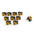 10 x Fairing Bolts M5 5mm Aluminium Spire Speed Fastener Clips Spring Nuts, Gold