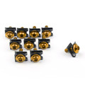 10 x Fairing Bolts M6 6mm Aluminium Spire Speed Fastener Clips Spring Nuts, Gold