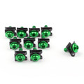 10 x Fairing Bolts M6 6mm Aluminium Spire Speed Fastener Clips Spring Nuts, Green