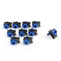 10 x Fairing Bolts M5 5mm Aluminium Spire Speed Fastener Clips Spring Nuts, Blue