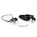 "7/8"" Aluminum Rear View Side Mirror Handle Bar End Universal Motorcycle, Black"