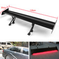 Double Deck GT Aluminum Rear Trunk Wing Racing Spoiler With Red Light, Black #G2